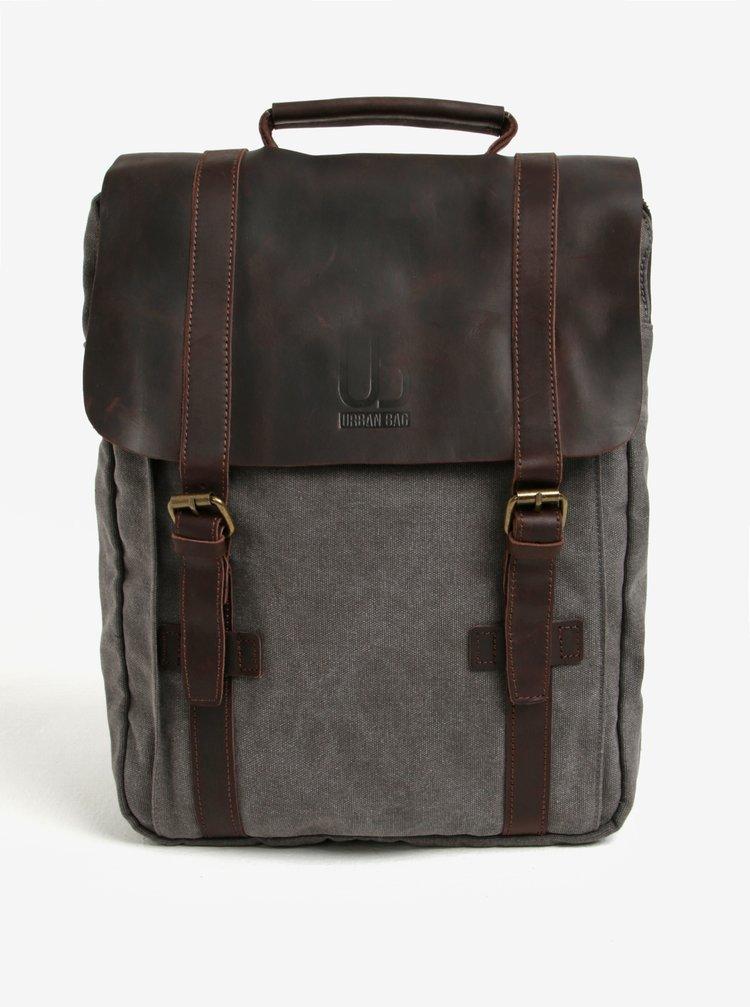 Rucsac gri cu maro cu detalii din piele Urban Bag