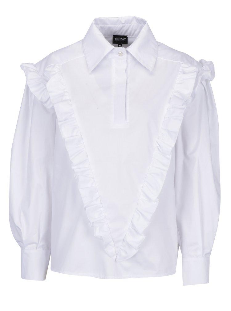 Bílá dámská košile s volány Bluzat