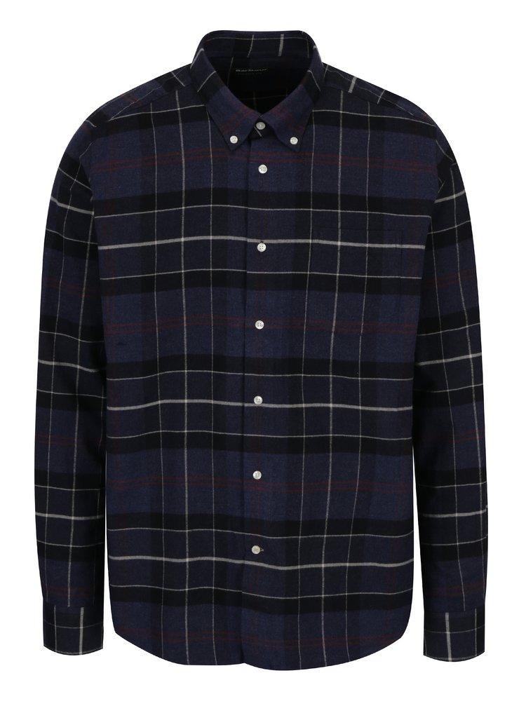 Tmavě modrá kostkovaná tailored fit košile Barbour Lustleigh