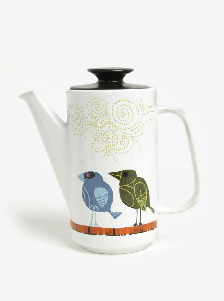 Cafetiera alba cu print pasari si capac negru - Magpie Family of Birds
