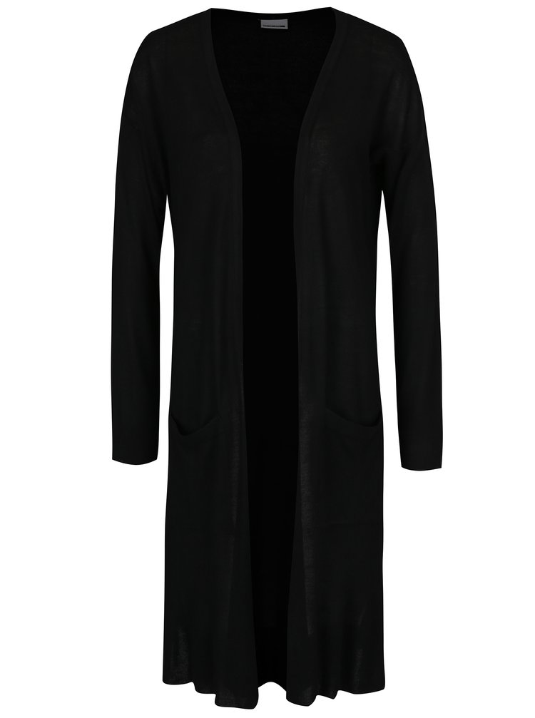 Cardigan lung negru cu slituri si buzunare - Noisy May Becca