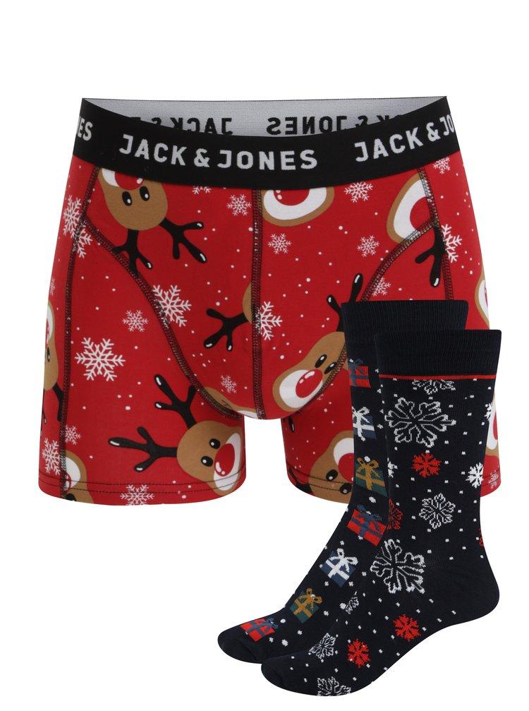 Súprava dvoch párov ponožiek a boxeriek v červenej a modrej farbe Jack & Jones X-MAS