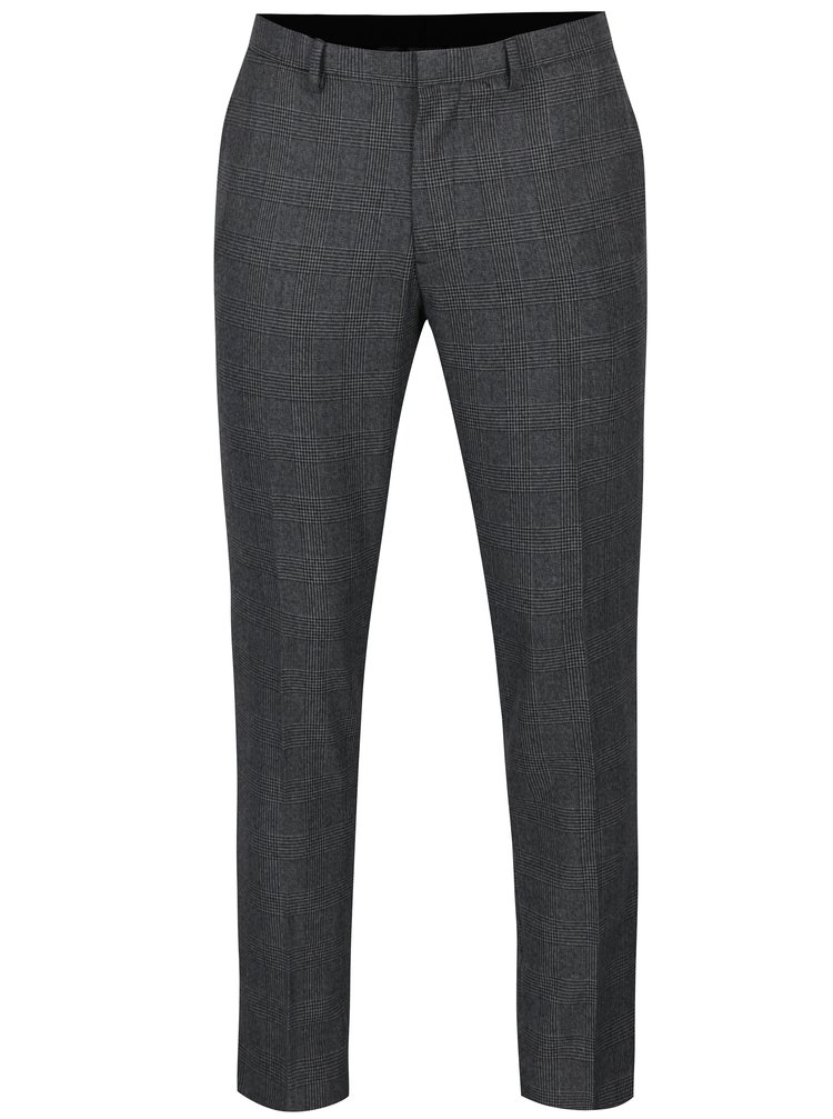 Šedé kostkované formální skinny kalhoty Burton Menswear London