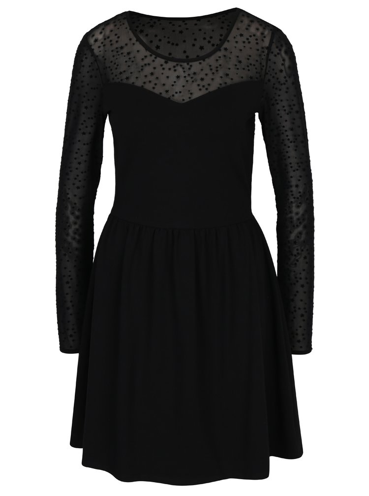 Rochie neagra cu plasa si aplicatie stea catifelata ONLY Niella