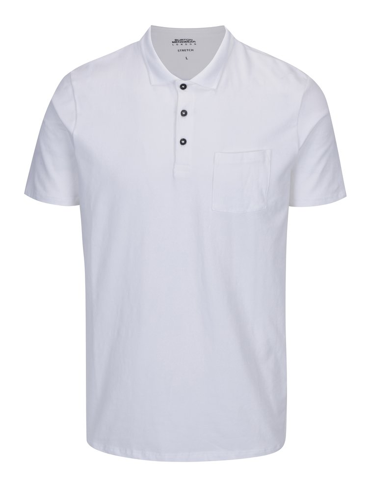 Tricou polo alb cu buzunar Burton Menswear London
