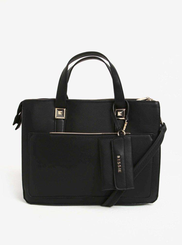 Černá velká kabelka s malým pouzdrem na doklady Bessie London