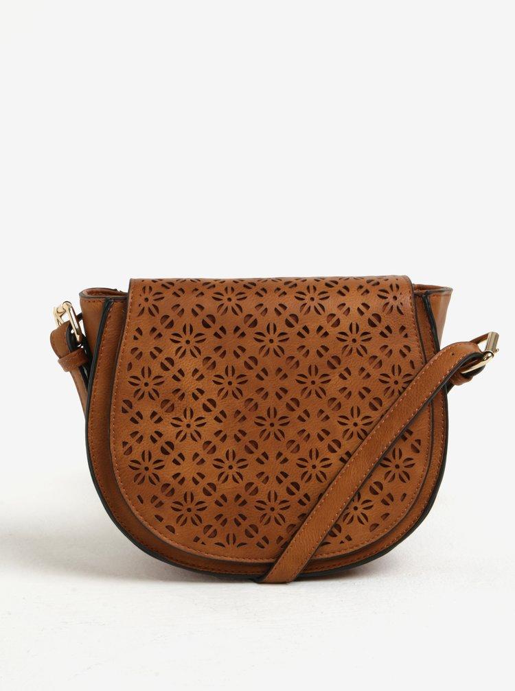 Hnedá dierkovaná crossbody kabelka Bessie London