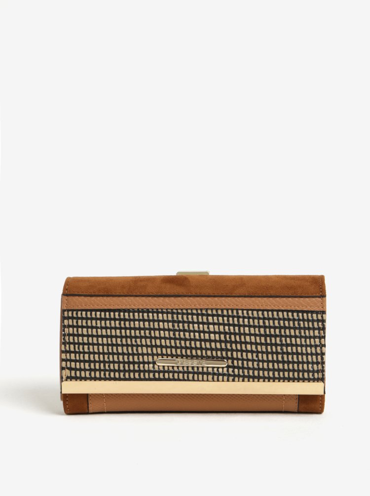 Hnědá vzorovaná peněženka s detaily ve zlaté barvě Bessie London