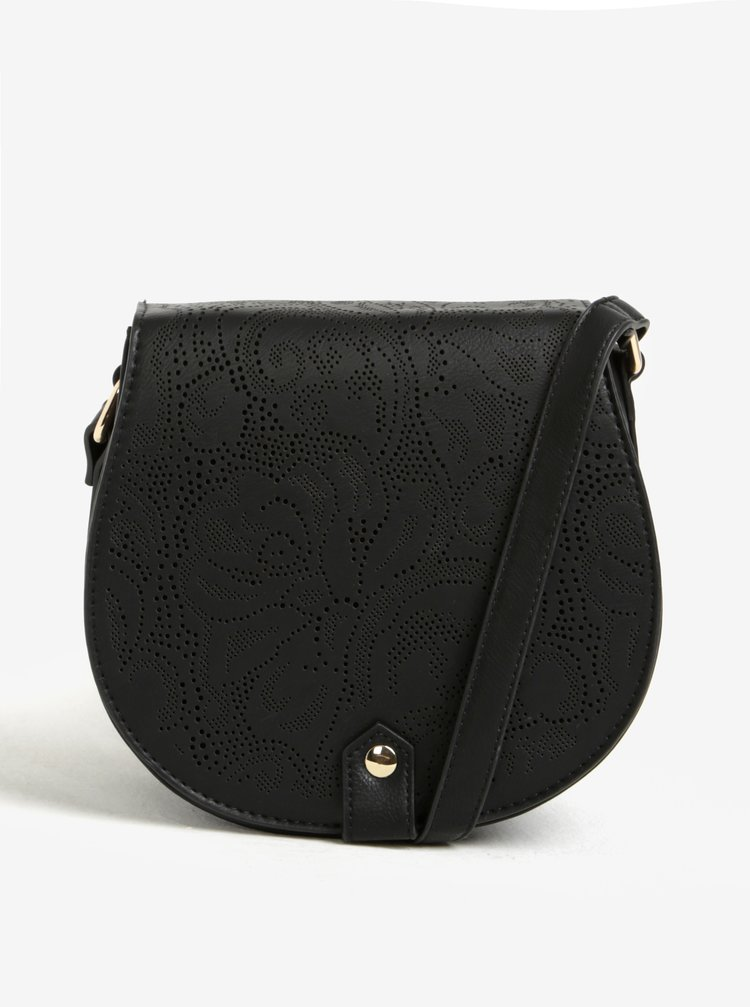 Geanta crossbody neagra cu perforatii si detalii aurii - Bessie London