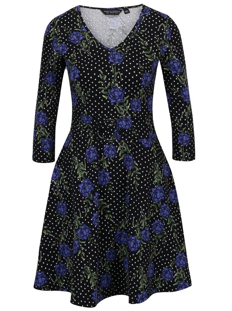 Rochie clos neagra cu print floral si buline Dorothy Perkins