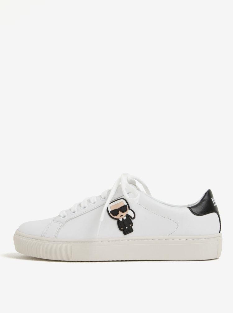 ... Bílé kožené tenisky s gumovou aplikací KARL LAGERFELD Kupsole dff35d71ed