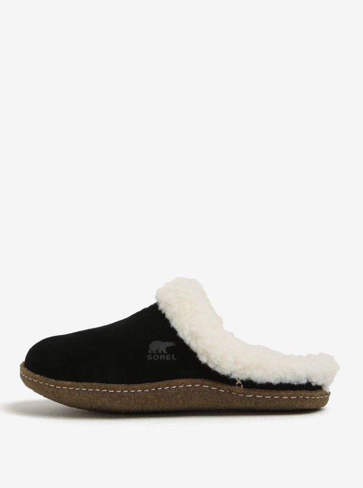 Černé dámské semišové papuče s umělým kožíškem SOREL