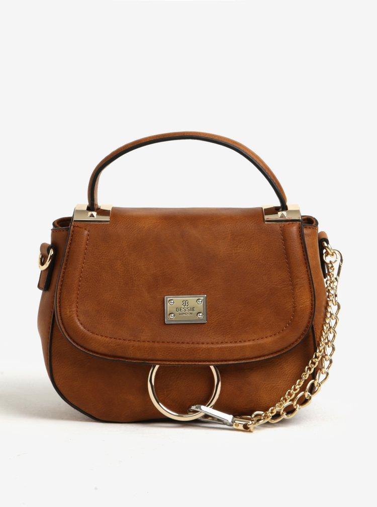 Hnědá crossbody kabelka s řetízkem ve zlaté barvě Bessie London