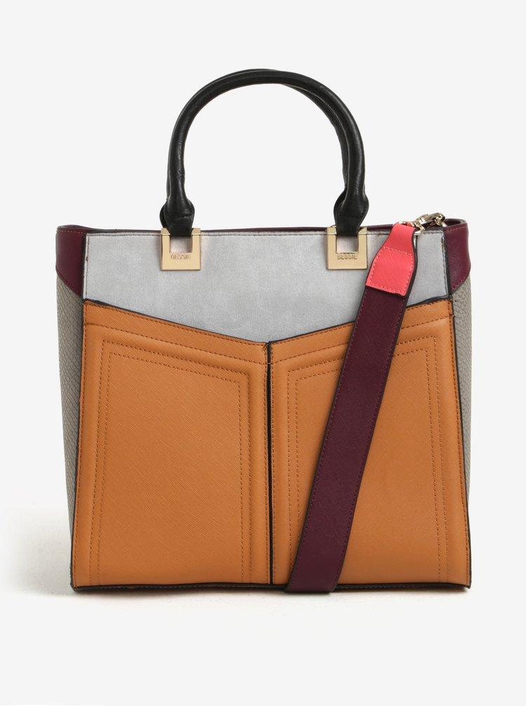 Sivo-hnedá kabelka s odnímateľným popruhom Bessie London