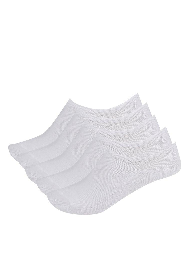 Sada pěti párů kotníkových ponožek v bílé barvě Pieces Tess