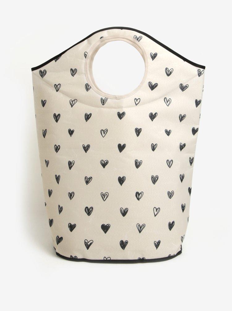 Krémový koš na prádlo s motivem srdcí Butter Kings