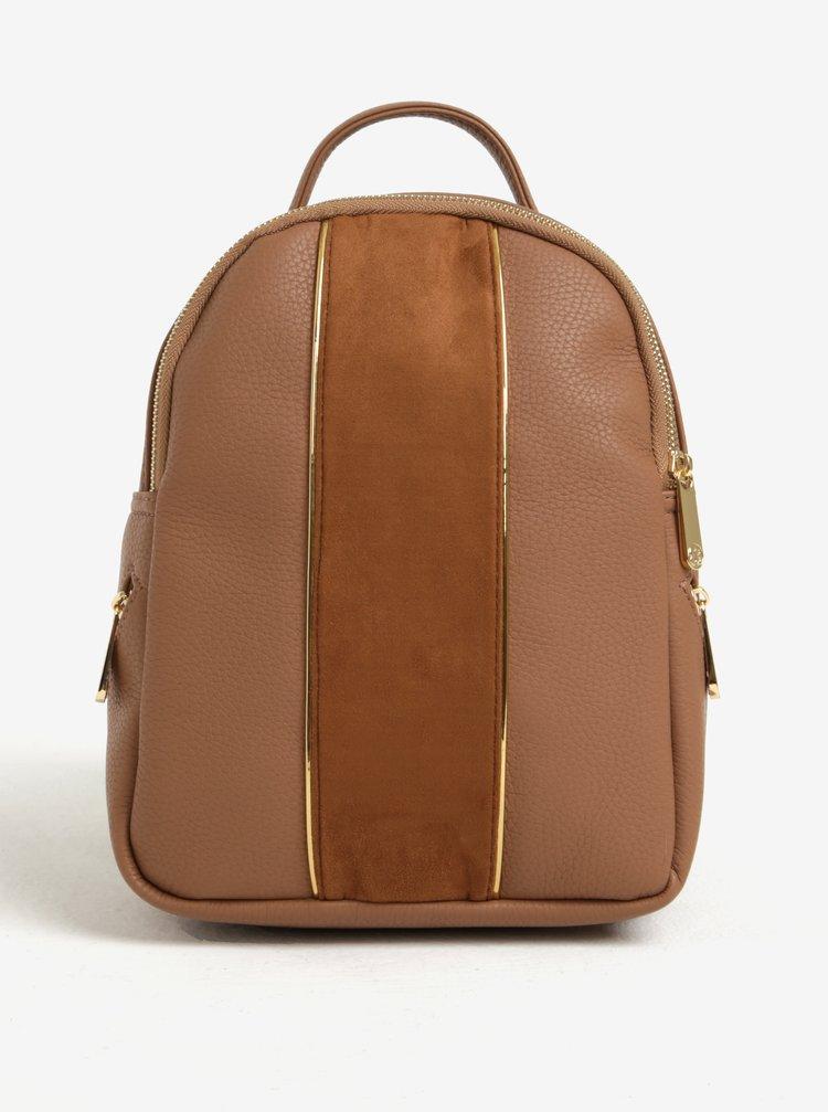 Hnedý malý batoh s detailmi v zlatej farbe Bessie London