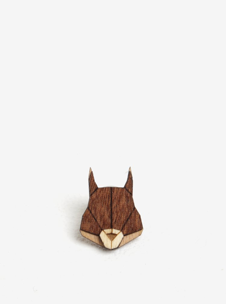 Dřevěná brož ve tvaru veverky BeWooden Squirrel Brooch