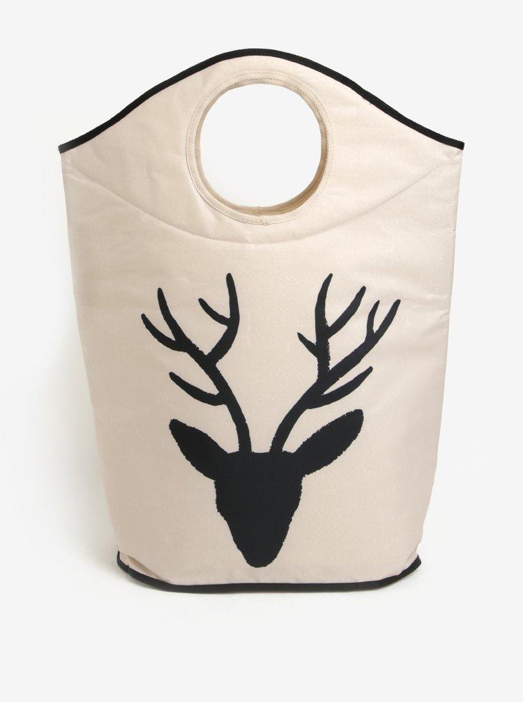Krémový koš na prádlo s motivem jelena Butter Kings
