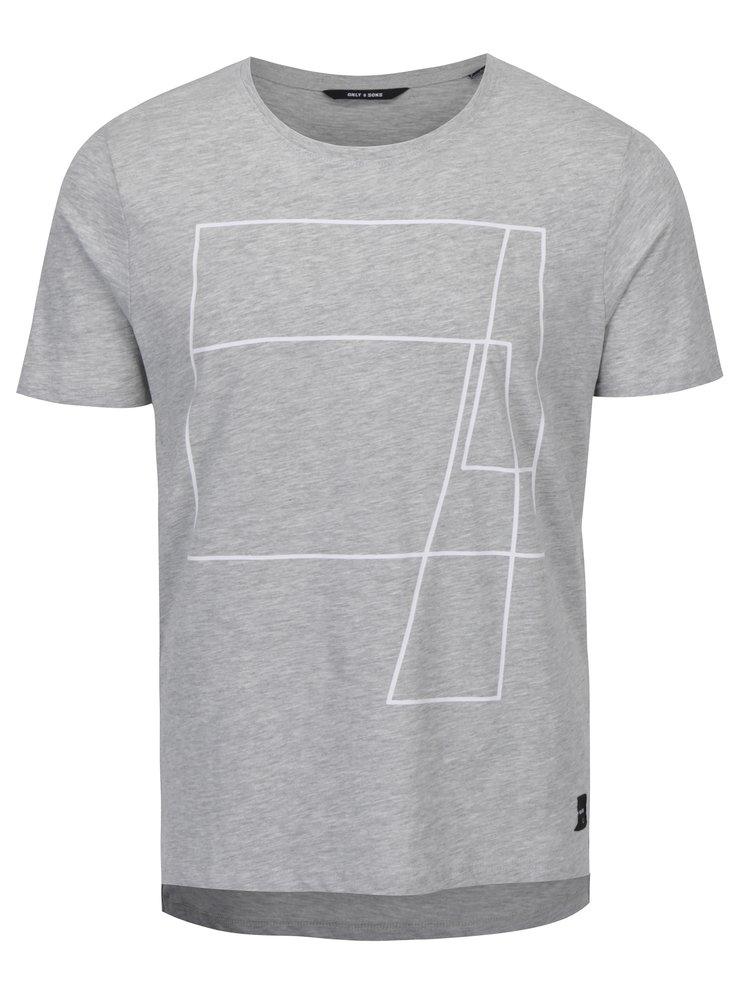 Tricou gri melanj cu print geometric - ONLY & SONS Morgan