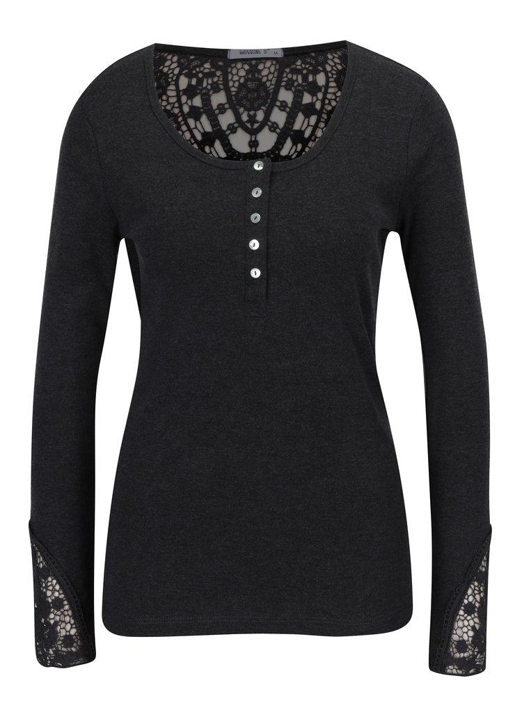Tmavě šedé tričko s krajkou Haily´s Rea
