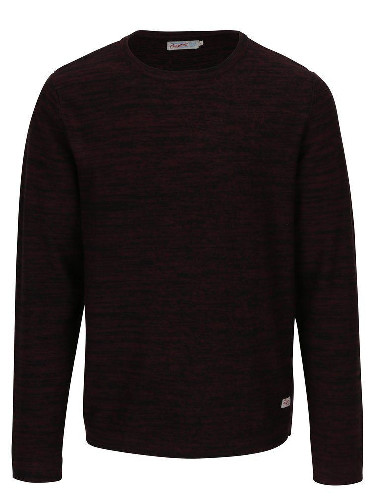 Pulover bordo melanj cu decolteu rotund  Jack & Jones Originals Fargo