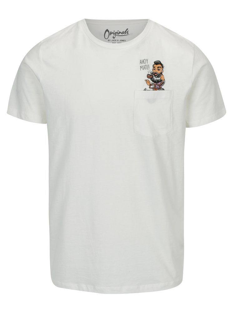 Krémové tričko s kapsou Jack & Jones Cheeky TEE