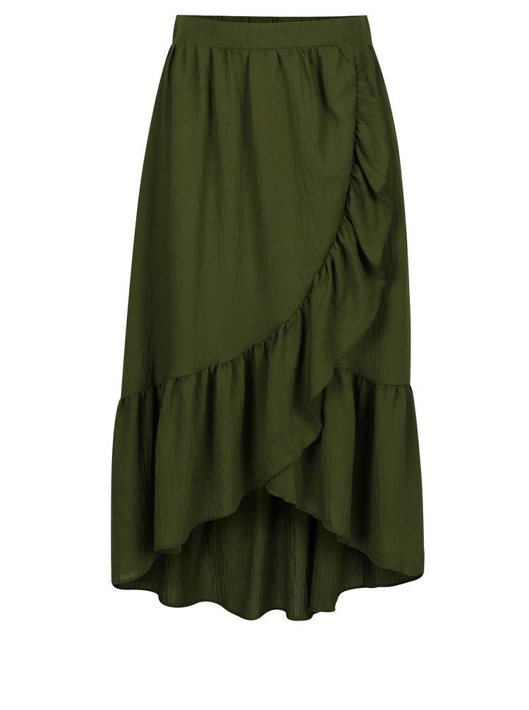Zelená midi sukně s volány VILA Dama