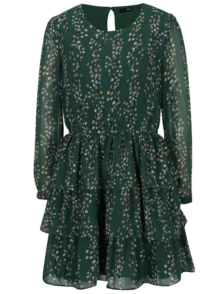 Zelené vzorované šaty s volány ONLY Ditte