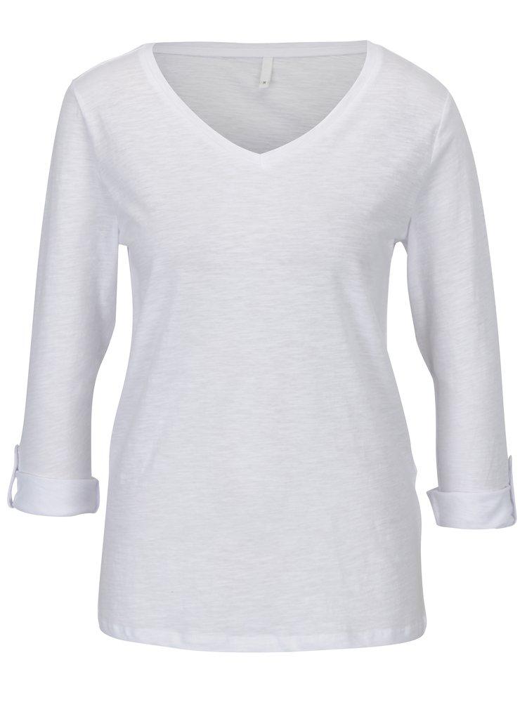 Bílé tričko s 3/4 rukávem ONLY Bone