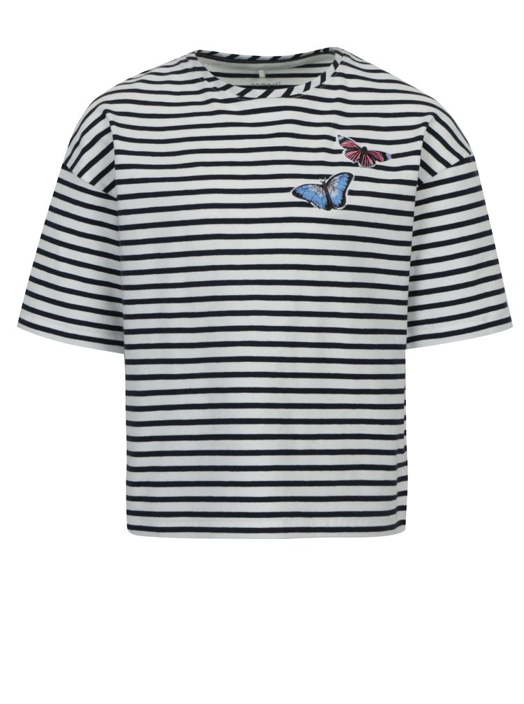 Bílo-modré pruhované holčičí tričko name it Asja