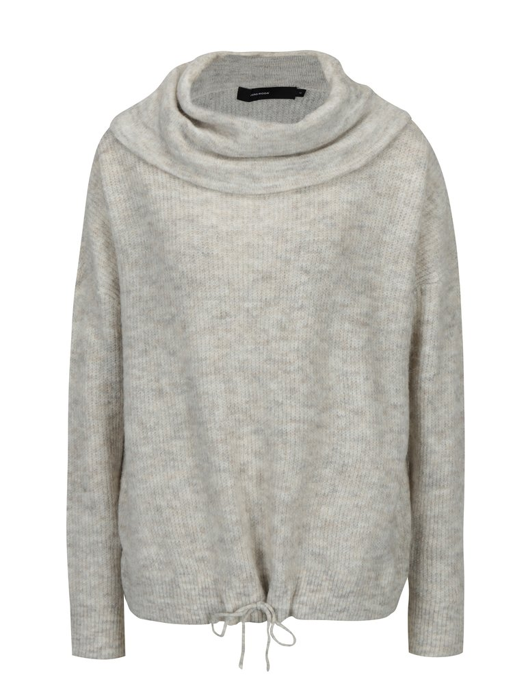 Krémový žíhaný svetr s příměsí vlny VERO MODA Helen