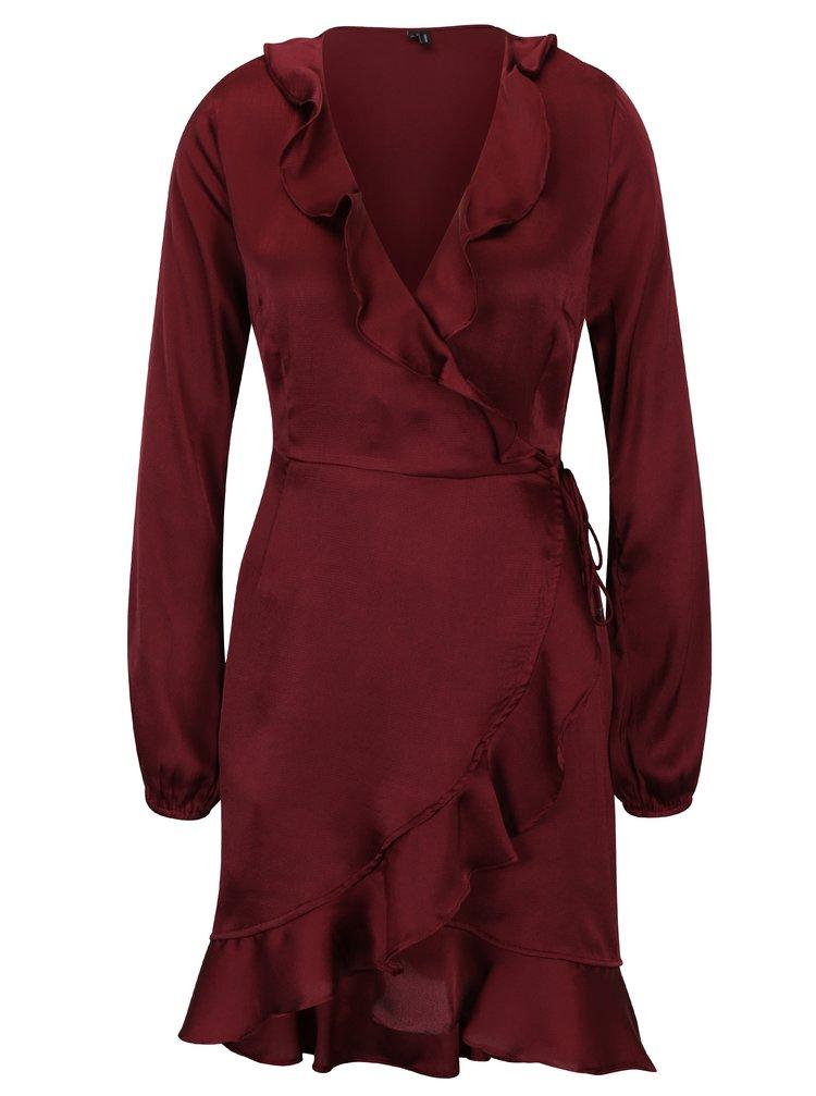 Vínové zavinovací šaty s volány VERO MODA Henna