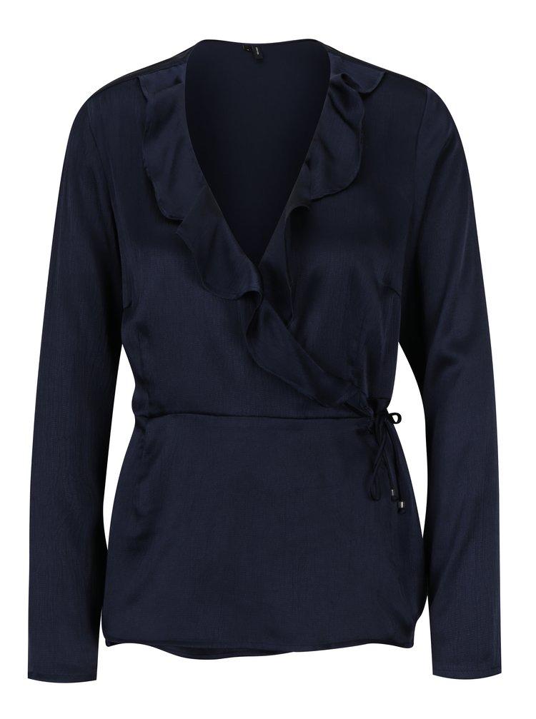 Bluza bleumarin cu volane si aspect satinat VERO MODA Henna