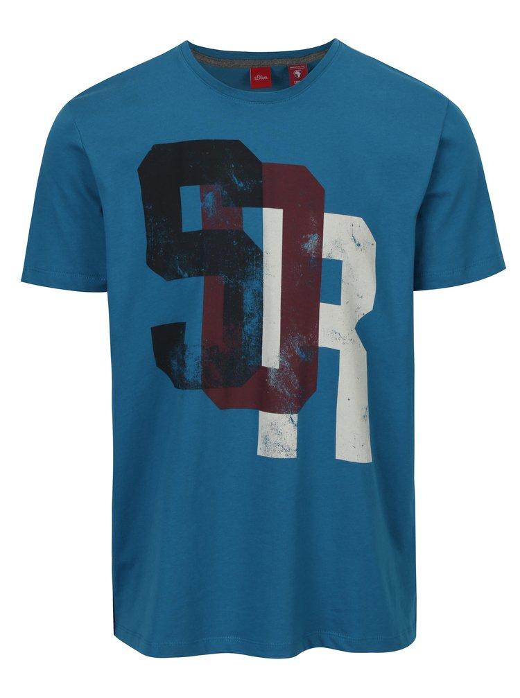Tricou albastru din bumbac cu print pentru barbati - s.Oliver
