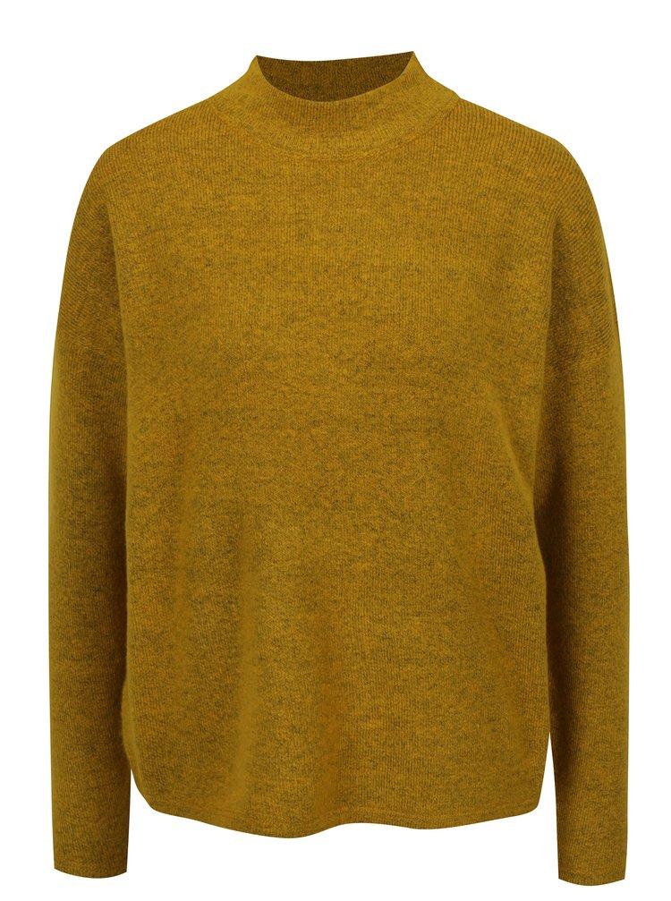 Hořčicový žíhaný dámský svetr se stojáčkem QS by s.Oliver