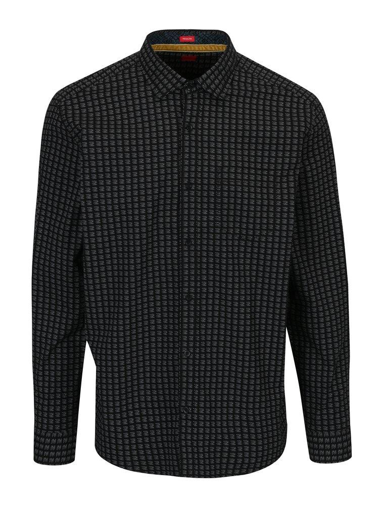 Camasa regular fit neagra cu print pentru barbati - s.Oliver