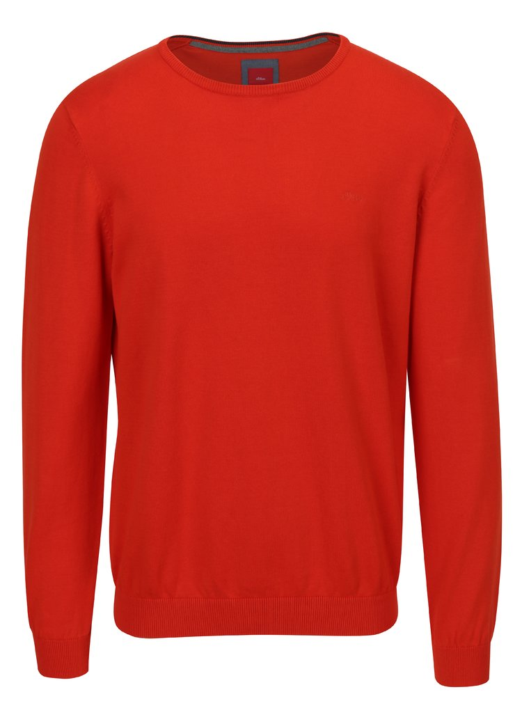 Pulover rosu cu logo brodat pentru barbati s.Oliver