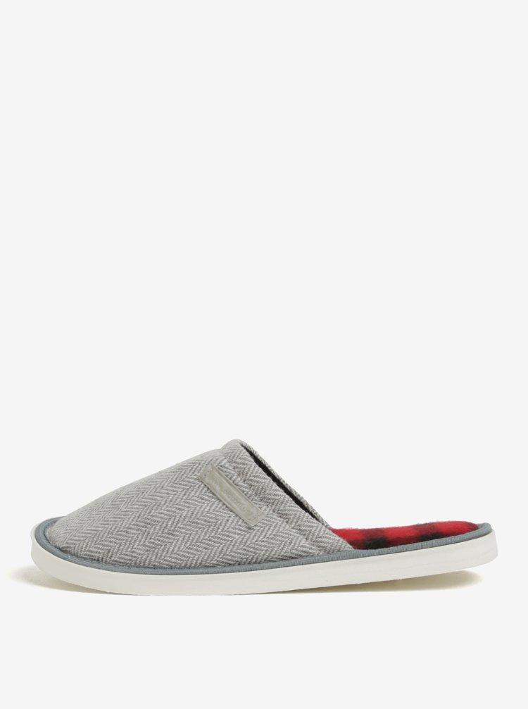 Krémovo-šedé vzorované papuče Oldcom Luxhome