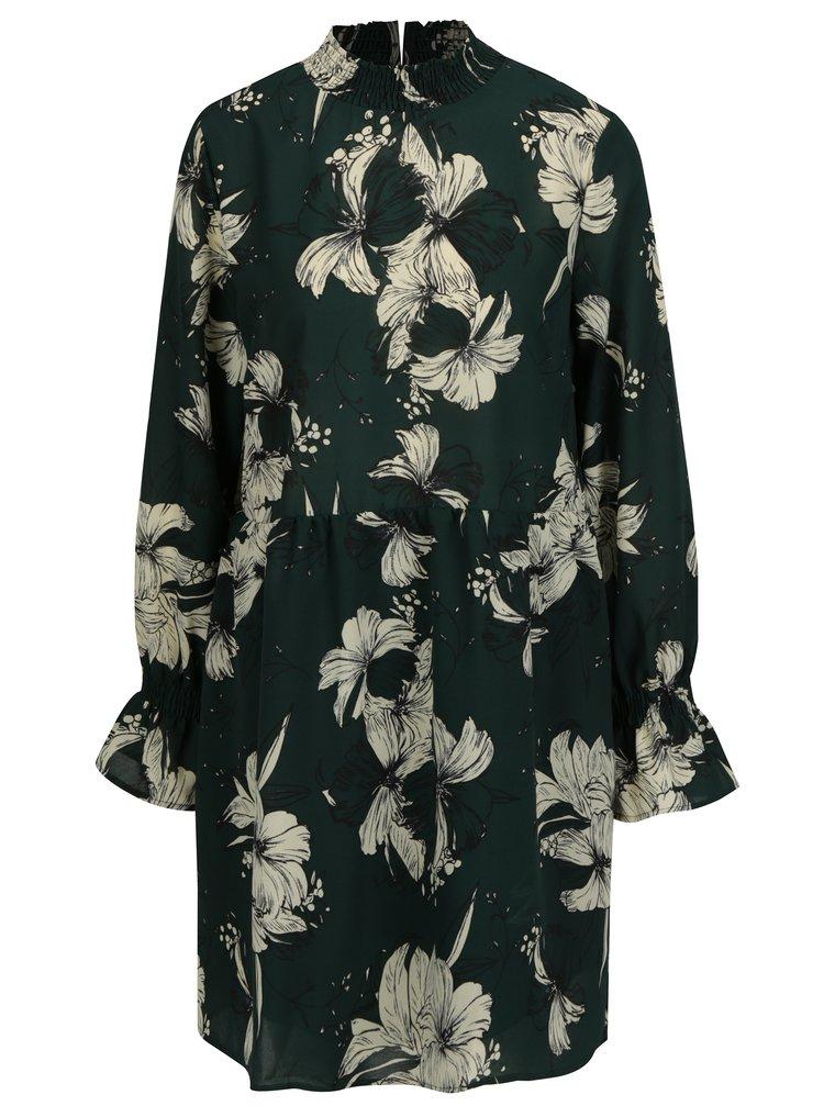 Tmavě zelené květované šaty s dlouhým rukávem VILA Floppy