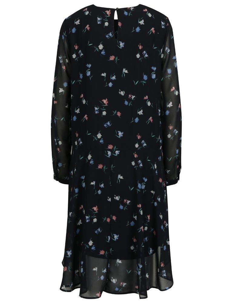 ... Tmavě modré volné květované šaty VERO MODA Nulle 6a14f8b6a12