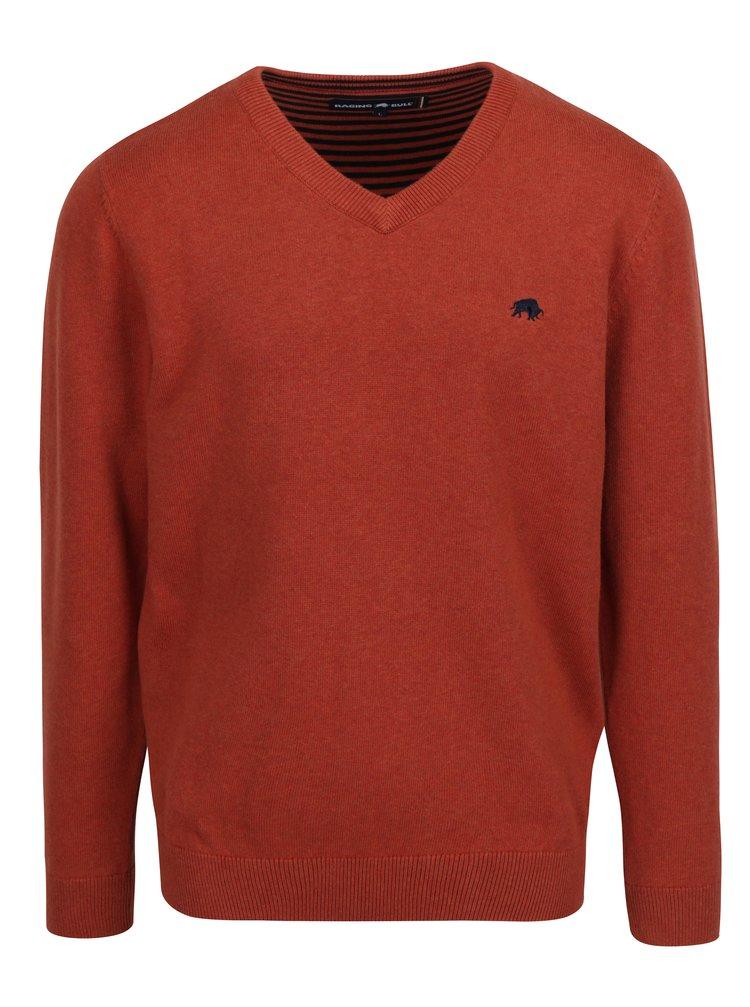 Oranžový svetr s véčkovým výstřihem Raging Bull