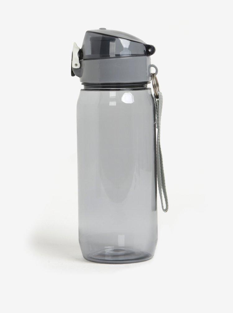 Šedá lahev na vodu s uzamykatelným uzávěrem Loooqs