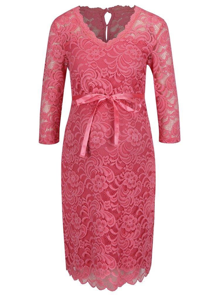 Světle růžové krajkové těhotenské šaty Mama.licious Ivana