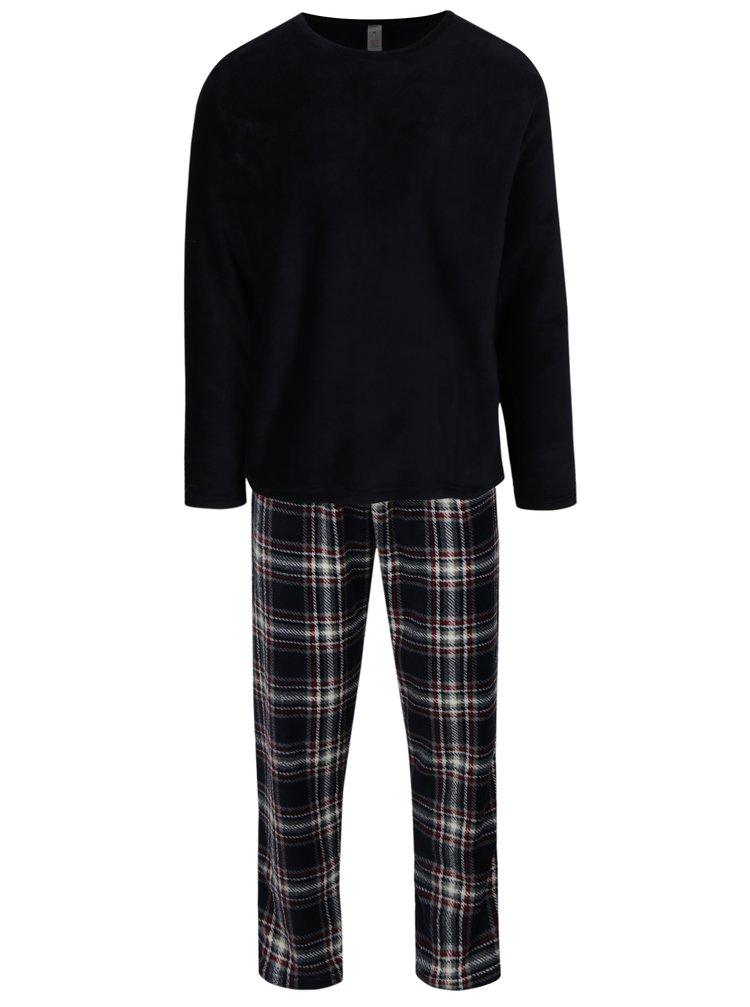 Pijama bleumarin din fleece cu carouri M&Co