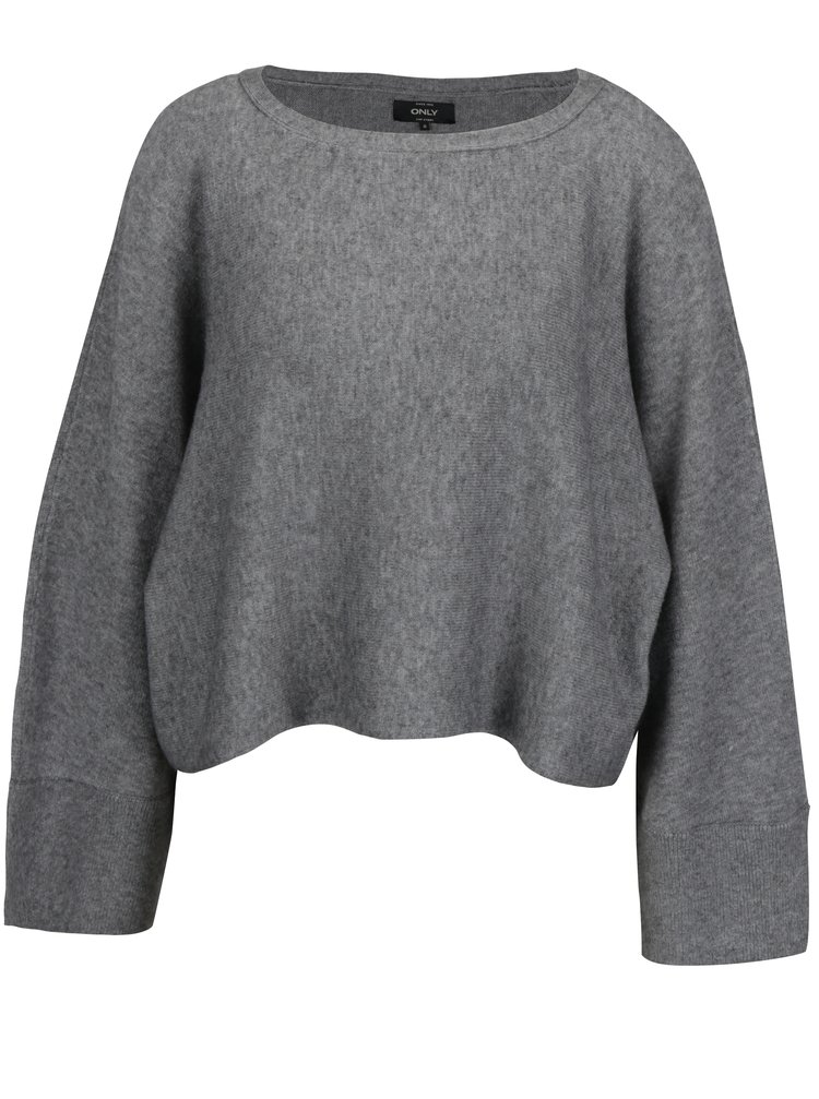 Šedý krátký oversize svetr s netopýřími rukávy ONLY Livency