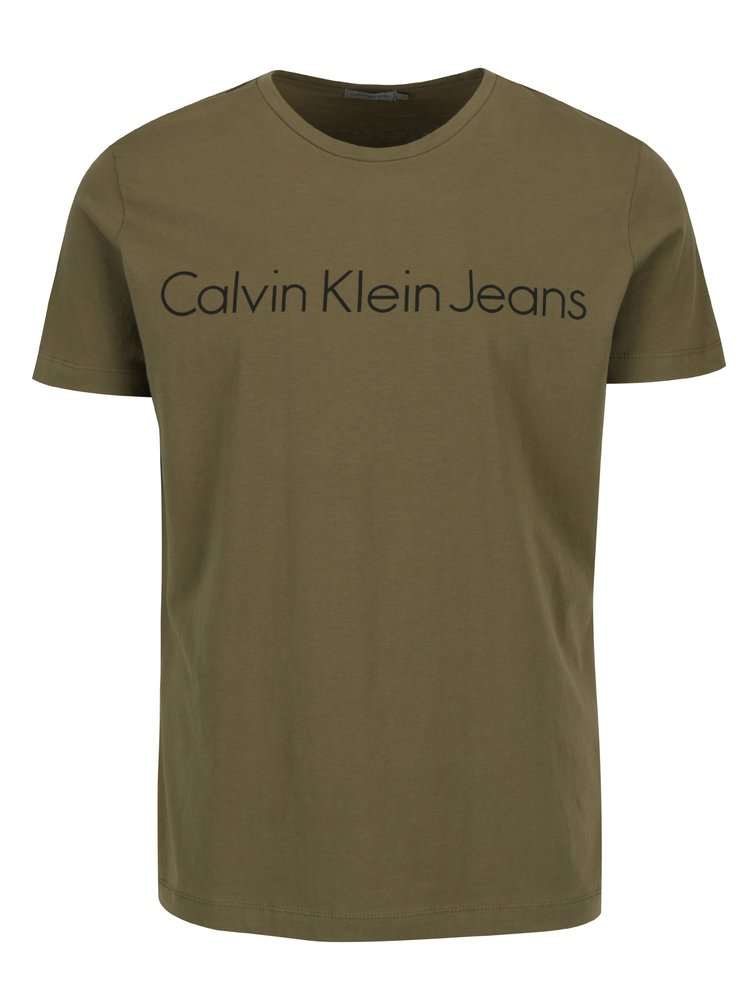Khaki pánské slim fit tričko Calvin Klein Jeans Treasure