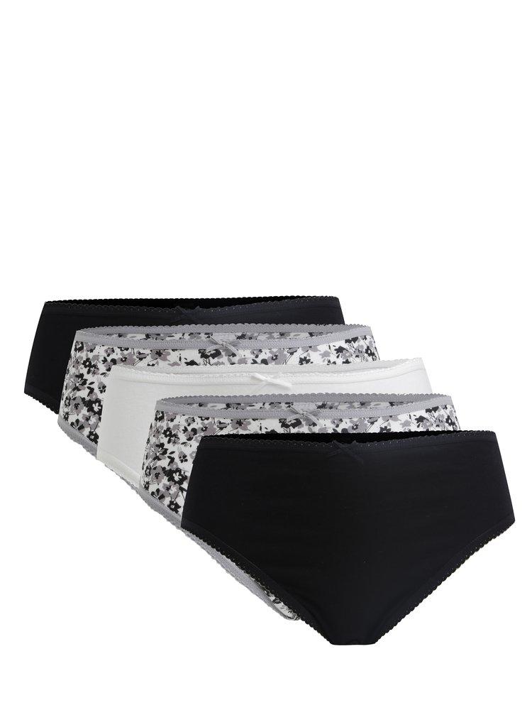 Set de 5 perechi de chiloti negru&gri si crem cu print M&Co
