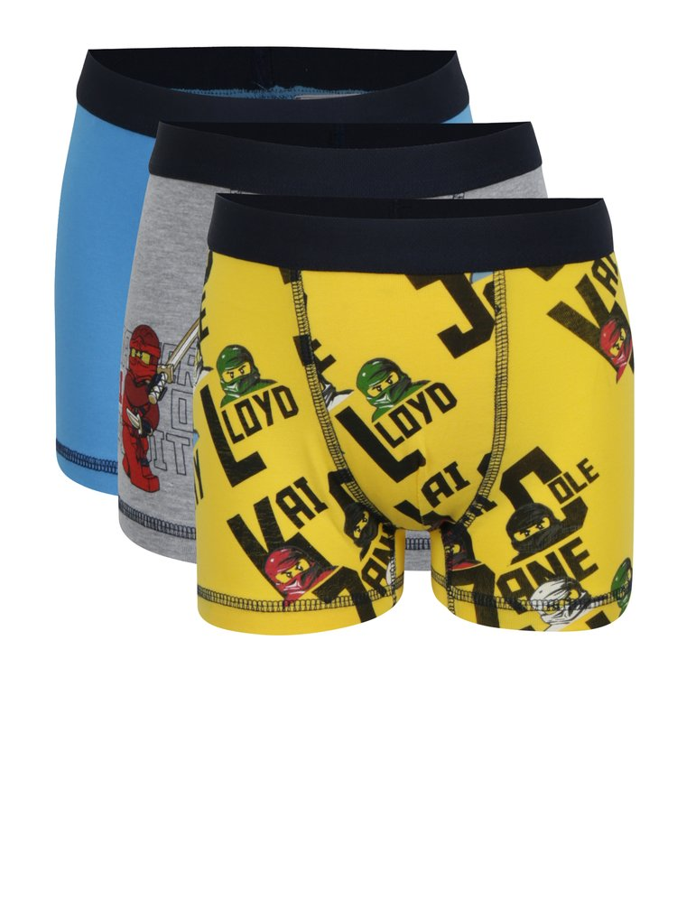 Sada tří klučičích boxerek v žluté a modré barvě Lego Wear Umer