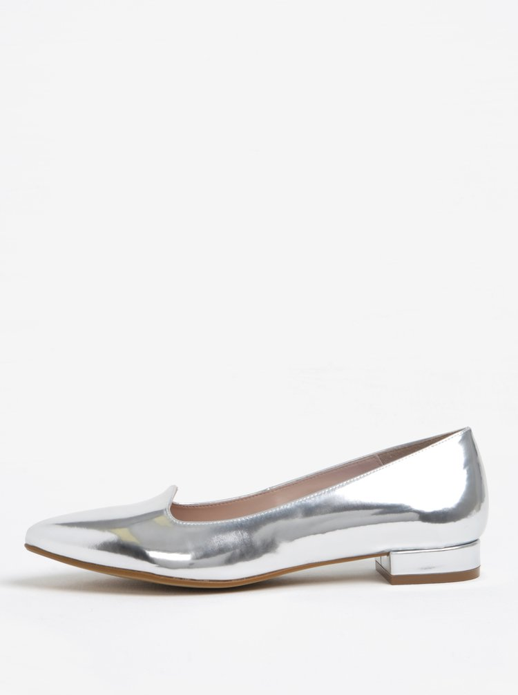 Balerini argintii cu varf ascutit si aspect metalic - OJJU